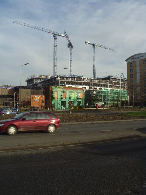 Cranes between Kirkstall Road and Burley Road, Leeds