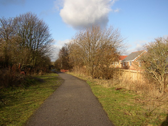 Spen Valley Greenway passing the new housing estate, Liversedge