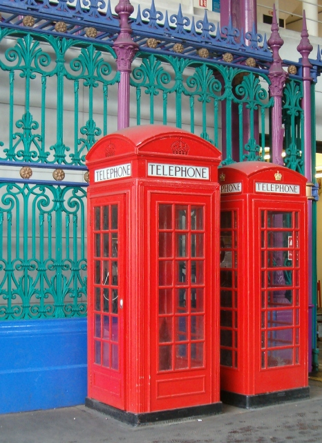 Telephone boxes in Smithfield Market