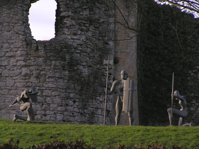 Statues by the walls of Helmsley Castle