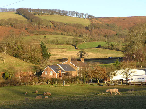 Upcott Farm with Quantocks in the background
