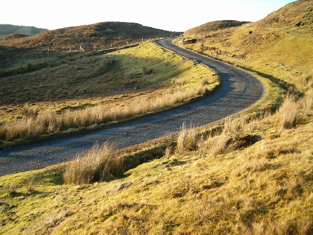 Winding road in the evening light