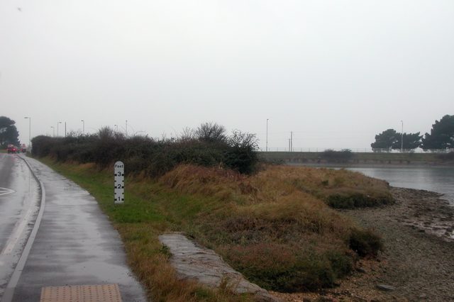 Floodwater marker at Northney, Hayling Island