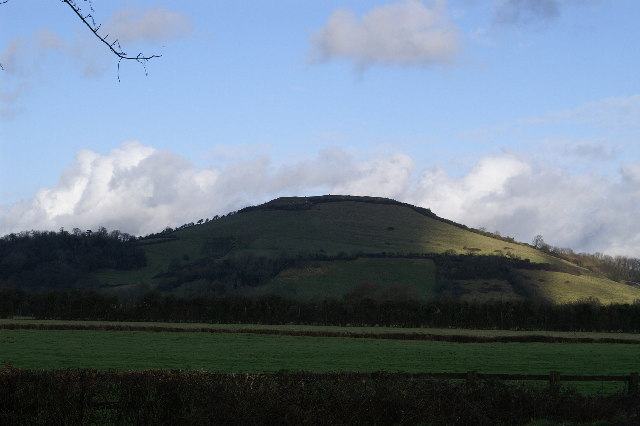Field looking toward Brent Knoll from the B3140