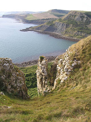Chapmans Pool and Egmont Point from coast path at Emmetts Hill