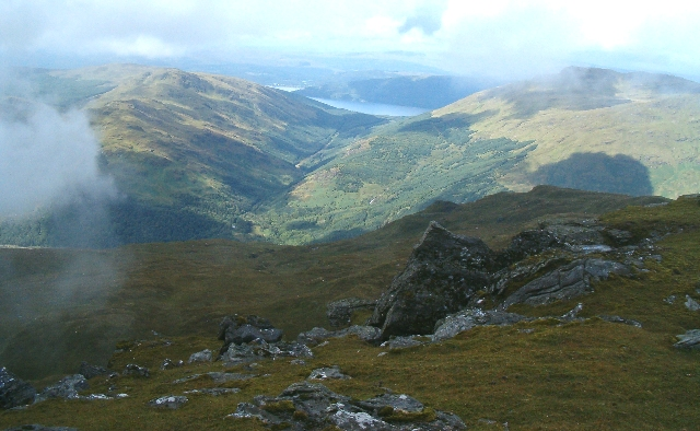 View north-west from the summit of Ben Donich