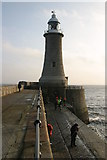 NZ3869 : Lighthouse at the end of the North Pier, Tynemouth by Phil Thirkell
