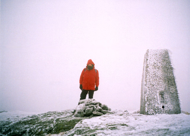 The trig-point and summit cairn on Beinn Mhòr