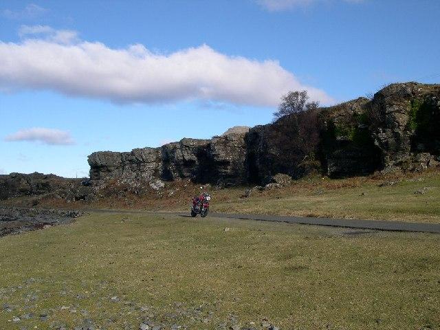 Raised beach and sea cliffs, Isle of Mull.