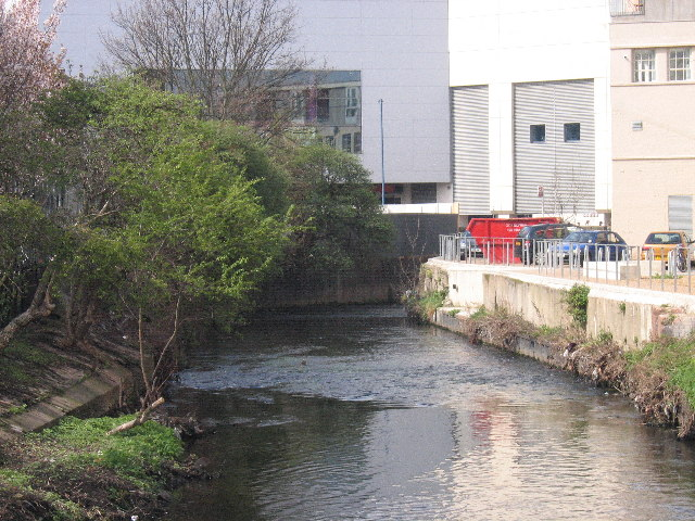 River Wandle flows under the Arndale Centre, Wandsworth, SW18