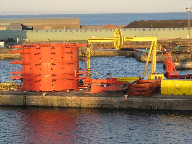 Colourful machinery, Leith Docks