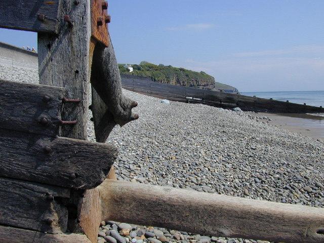 Groynes on Amroth Beach.