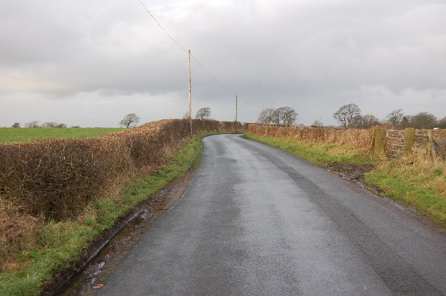 Looking North up Pinfold Lane Inskip