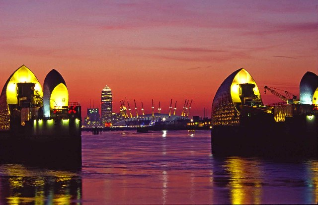 Thames Barrier at Dusk with Canary Wharf and Millennium Dome