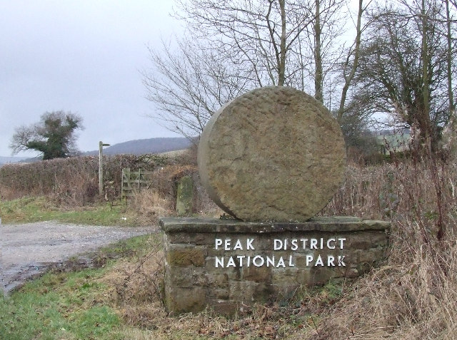 Peak District National Park boundary marker.
