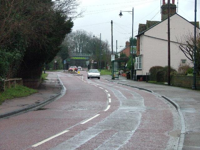 Little Wymondley - Railway bridge and street.
