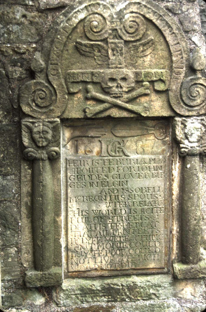 Tombstone of John Geddes, glover,  in Elgin Cathedral.