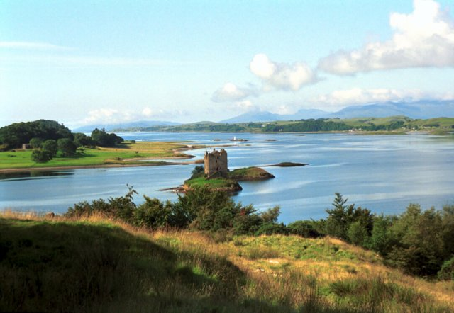 Castle Stalker with Lismore Island in the background