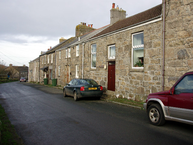 Old school house and cottages at Halsetown