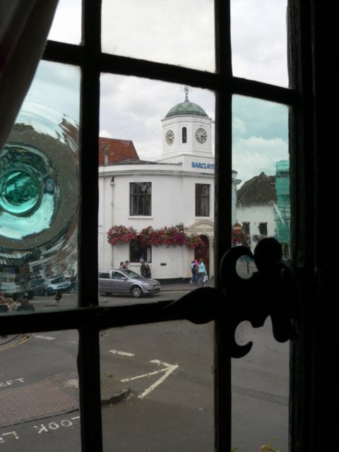 A view of Barclays Bank, Stratford from a Tearoom window.