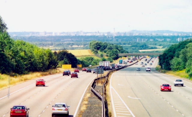 M6 towards Birmingham city centre
