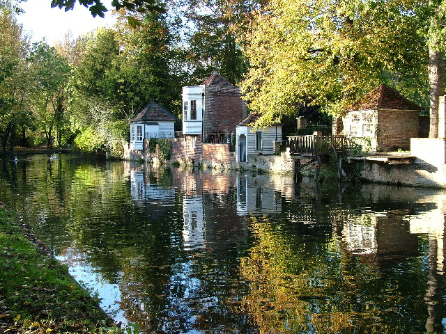 Historic gazebos on River Lea, Ware