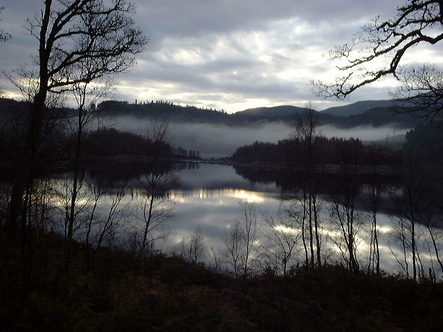 Early morning mist over Loch Garry