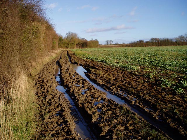 Muddy track near Sandons Farm
