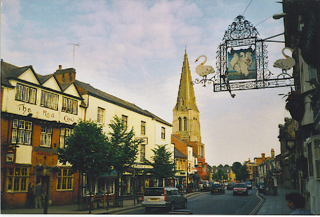 The main street in Market Harborough.