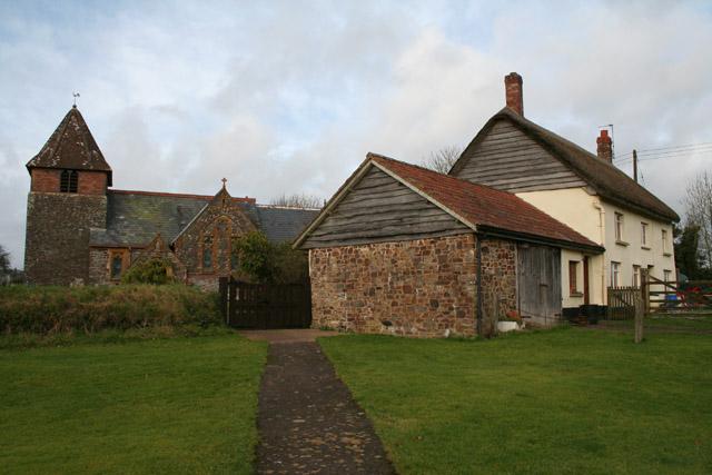 Washford Pyne: church and cottage
