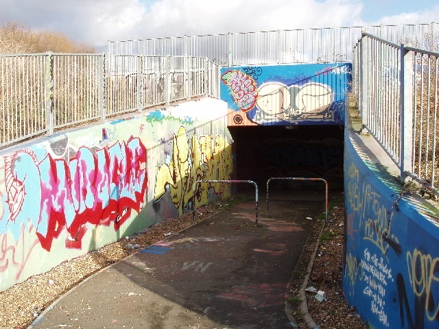 Pedestrian subway with graffiti