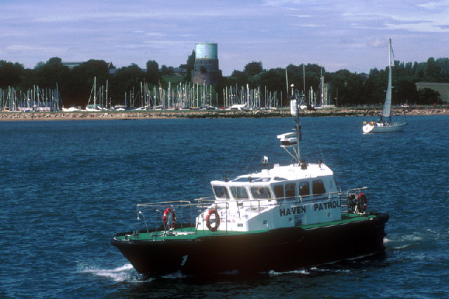 Patrol boat and water tower, Shotley, Suffolk