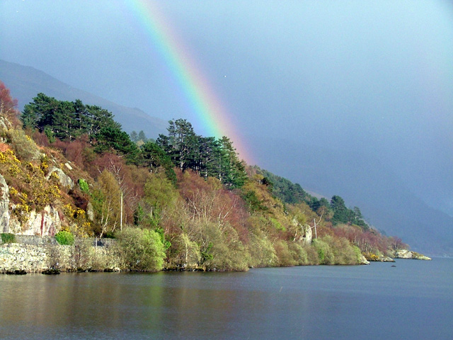 Rainbow over Padarn lake