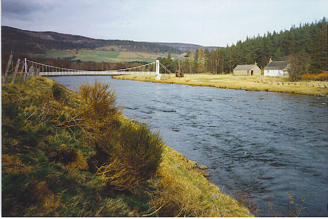 Polhollick Bridge and River Dee, west of Ballater