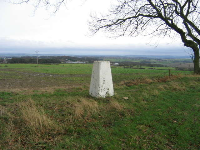 Trig Point at Fyndoune with Durham City in background