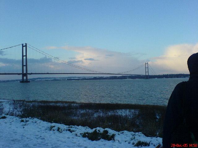 Humber Bridge in the snow
