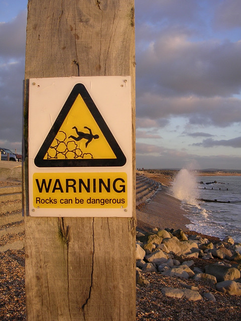 Warning sign on the beach at Milford-on-Sea