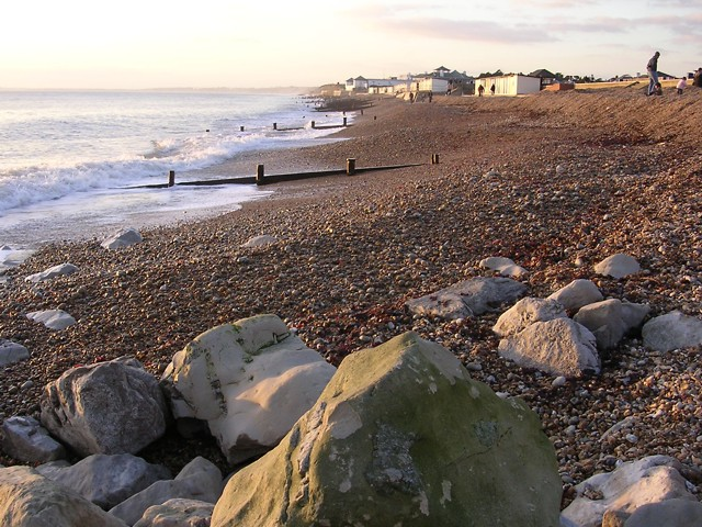 View west along the beach at Milford-on-Sea