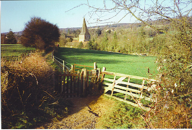 Footpath into Shere from the South-east.