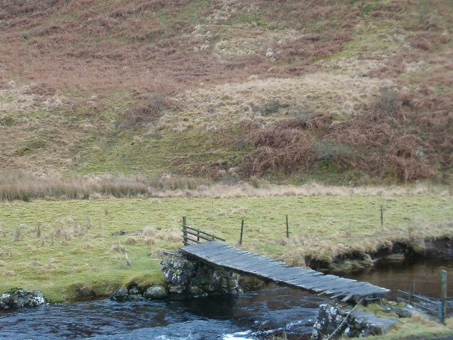 Decrepit footbridge over the River Euchar