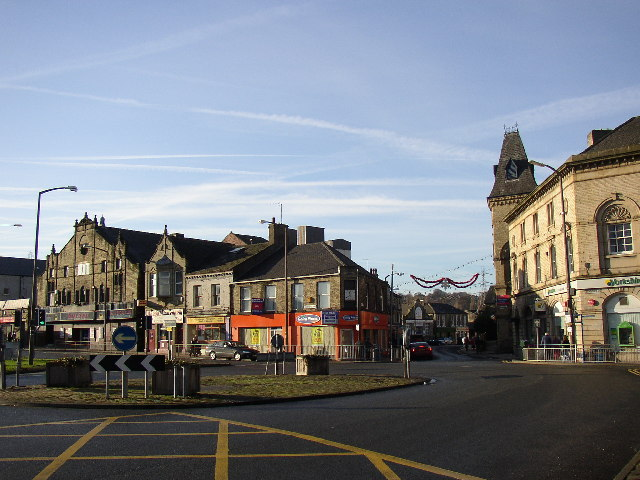 Roundabout at junction of Bethel Street and Bradford Road, Brighouse