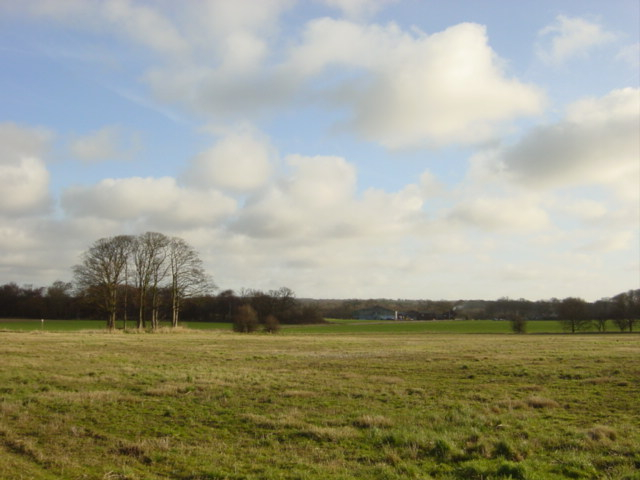 Looking across the field to Fluker's Brook Farm, Croxteth
