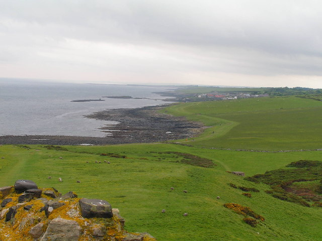 The Heugh, looking from Dunstanburgh Castle south to Craster
