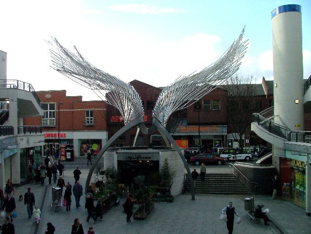 Sculpture of Angel in shopping precinct off Liverpool Road.