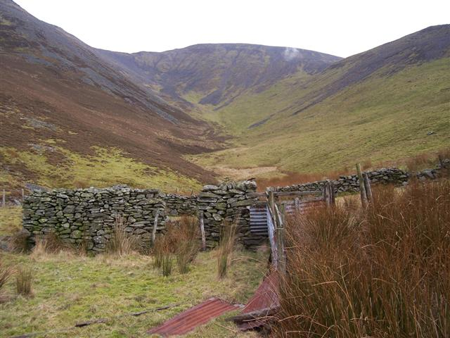 Looking over the sheepfolds to the catchment area.