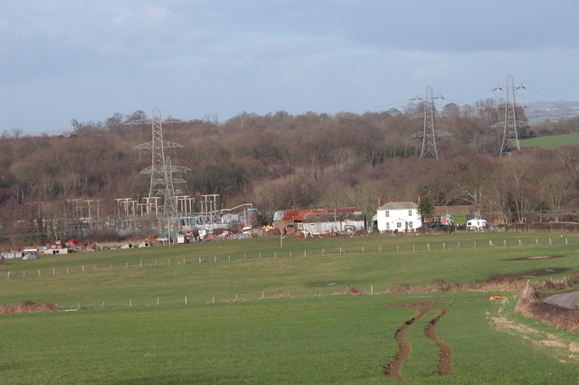 Farm and Electricity substation, at Potwell.
