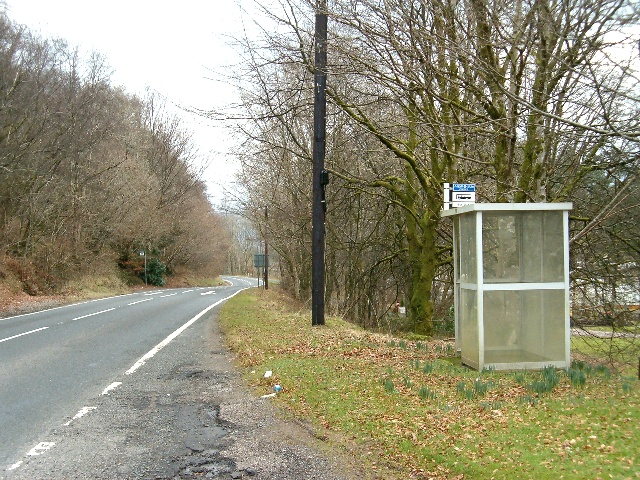 Bus shelter on the A83 at the Argyll Caravan Park