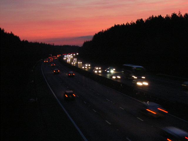 M4, Beenham's Heath at sunset