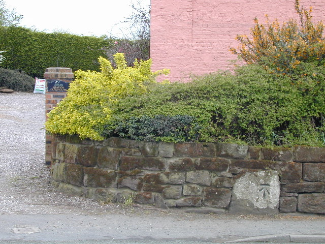 Early cut benchmark outside Station Farmhouse
