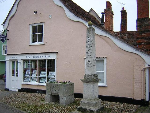 Obelisk milestone and horse trough, Nayland.